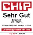 chip bewertet den Paragon Festplatten Manager mit sehr gut.