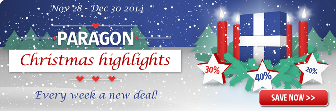 The Paragon christmas campaign -  every week a new deal! Save up to 40%