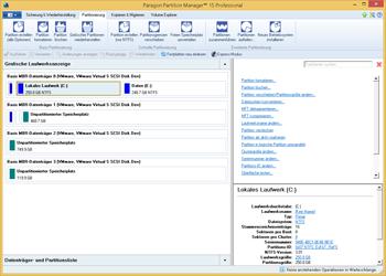 Das <b>Hauptprogrammfenster</b> kann in unterschiedliche Funktionsbereiche aufgeteilt werden. Die Festplattenansicht gibt einen Überblick über die Eigenschaften Ihrer Festplatten und Partitionen.