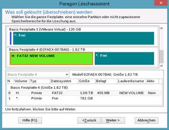 <b>Löschassistent</b><br />Löschen ist nicht gleich Löschen. Dieser Assistent hilft Ihnen beim Überschreiben von ganzen Festplatten, einzelnen Partitionen und freiem Speicherplatz, damit wichtige Daten nicht wiederhergestellt werden können. Nach Aktualisierung der Paragon-Löschtechnologie ist nun auch das zuverlässige  Löschen von SSDs möglich.