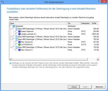 <b>P2V (Physical to Virtual) - Kopierassistent</b><br />Der Assistent hilft Ihnen dabei, einzelne Partitionen oder gesamte Festplatten in eine virtuelle Maschine zu übertragen.