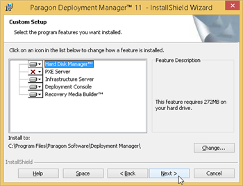 Installation of Deployment Manager (selecting components to install)