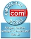 com! bewertet den Partition Manager 10 mit 1,5