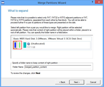 <b>Merge Partitions Wizard</b><br />The wizard enables to consolidate the disk space, which originally belongs to two adjacent partitions, into a single, larger partition. The program provides the ability to merge only NTFS, FAT16 or FAT32 partitions.