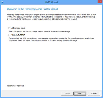 <b>Recovery Media Builder 3.0</b><br />The user-friendly program assistant helps you prepare either Linux or WinPE-based bootable environment on a USB thumb drive or in an ISO image format. The rescue media will allow start up of your computer for maintenance or recovery purposes when OS is corrupted or cannot be used.