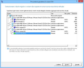 <b>P2V (da fisico a virtuale) - Procedura guidata di copia</b><br />La procedura guidata aiuta a copiare un intero disco rigido o singole unità in una nuova macchina virtuale.