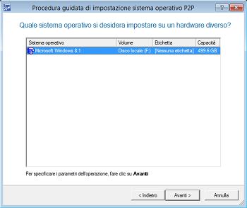 <b>P2P (da fisico a fisico) Procedura guidata di adattamento del sistema operativo</b><br />Questa procedura consente di eseguire la migrazione di qualsiasi sistema operativo Windows a partire da XP verso una differente piattaforma hardware. La procedura guidata notifica i dispositivi senza driver; cerca e installa i driver mancanti da archivi Windows integrati; segnala dispositivi senza driver che sono critici per l'avvio (HDD/RAID controllers, etc.); dà un nome a tutti i dispositivi in base alla loro descrizione del modello, stabilisce e installa i driver per le schede di interfaccia di rete fisicamente collegate.