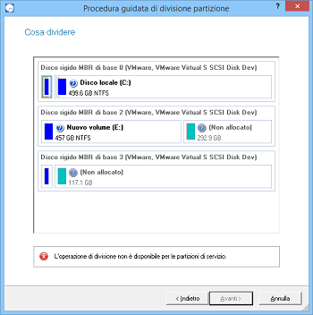 <b>Procedura guidata di divisione partizione</b><br />Questa procedura guidata aiuta a dividere una partizione in due partizioni distinte di tipo e file system identico. If you'd like to separate OS and data or different types of data it's exactly what you need. The wizard offers much flexibility - you can select any files and/or folders you want to be on the new partition. Besides you've got the option to redistribute free space between the two partitions.