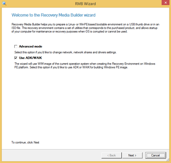 <b>Recovery Media Builder 3.0</b><br />The user-friendly program assistant helps you prepare either a Linux or a WinPE-based bootable environment on a USB thumb drive or in an ISO image format. The recovery medium will allow startup of your computer for maintenance or recovery purposes when the OS has been corrupted or cannot be used.