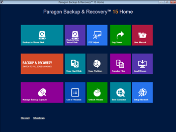 <b>WinPE Bootable Recovery Environment</b><br />If disaster strikes, you have Paragon&apos;s tools for hard disk editing or data recovery at your fingertips – even if your system won&apos;t boot up anymore. Just restart your PC using your previously created &quot;Recovery USB-Stick&quot; or &quot;Recovery CD/DVD&quot; and you have a number of useful features for backup, and to restore your system and data.