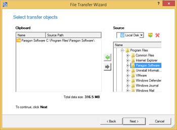 <b>File Transfer Wizard</b><br />The File Transfer Wizard makes such operations as transferring of files/directories or burning of them to CD/DVD as easy and convenient as possible. Providing access to Paragon backups as regular folders, it may also help to replace corrupted data from a previously created image in case of an operating system failure.