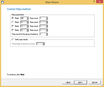 <b>Custom Wipe method</b><br /> Create your own individual wiping pattern