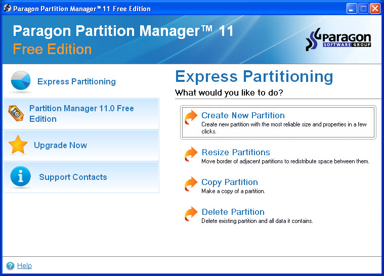 Click to view Paragon Partition Manager Free Edition 11 screenshot