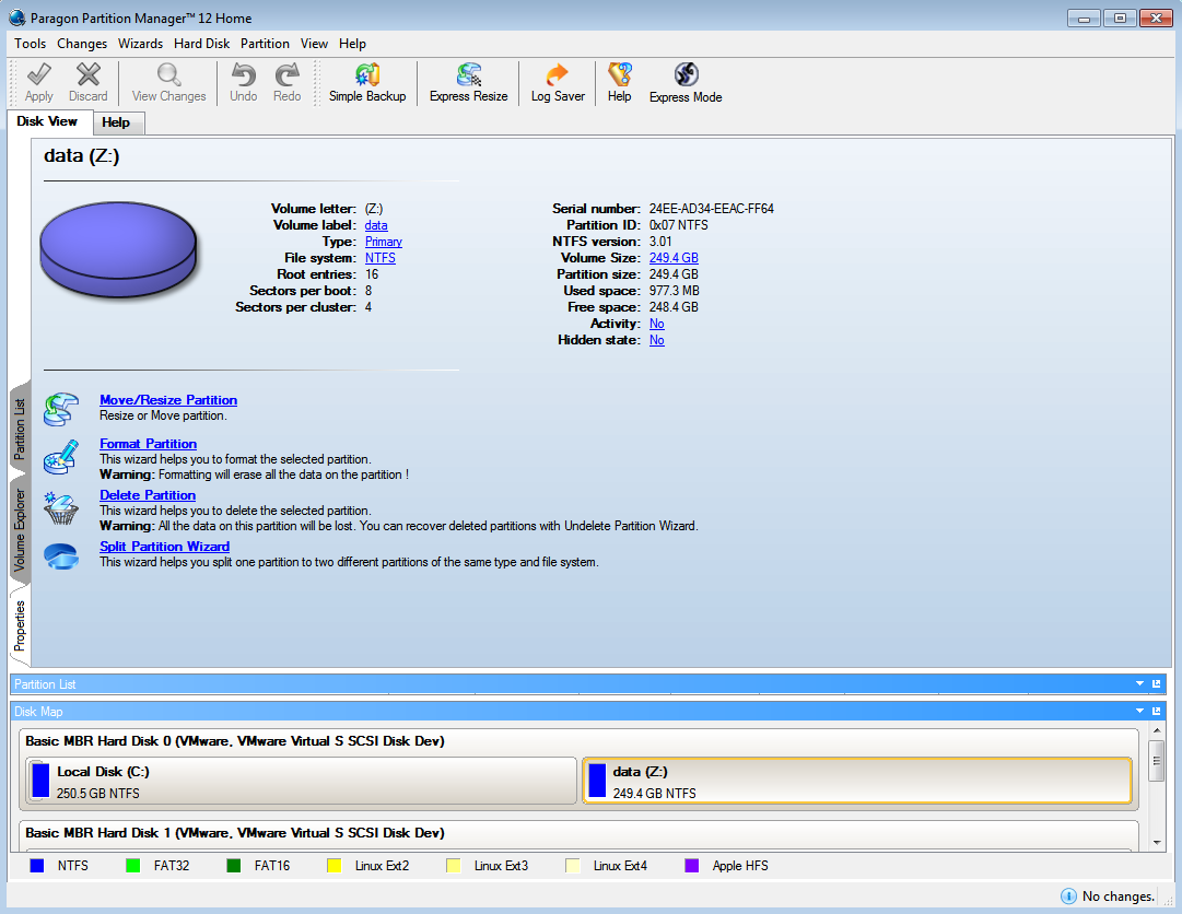 Paragon Partition Manager Home Screenshot