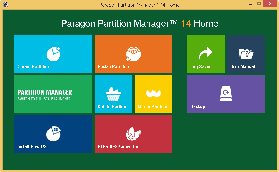 Paragon Partition Manager Home full screenshot