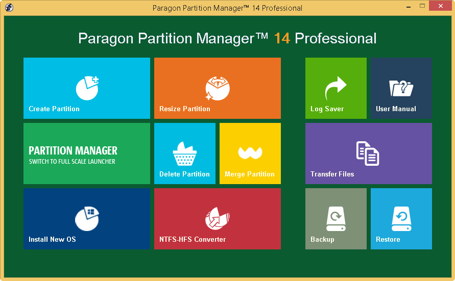 Paragon Partition Manager Professional full screenshot