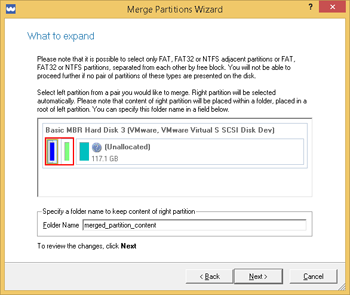 <b>Merge Partitions Wizard</b><br />The Merge Partitions Wizard enables to consolidate the disk space, which originally belongs to two adjacent partitions, into a single, larger partition. To merge adjacent partitions, click on the left partition of the pair of partitions you need to merge, as the right one will be selected automatically. During the operation all contents of the right partition will be placed in a folder on the resulted joined partition. By default, the program offers an easy-to-understand folder name, which can be customized however.
