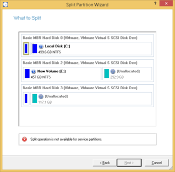 <b>Split Partition Wizard</b><br />Split Partition Wizard can help you detach the operating system and data or different types of data by splitting one partition to two different partitions of the same type and file system – you just select a partition, then files and folders you'd like to move to the new partition, finally redistribute free space between the two partitions if necessary, and here you are!
