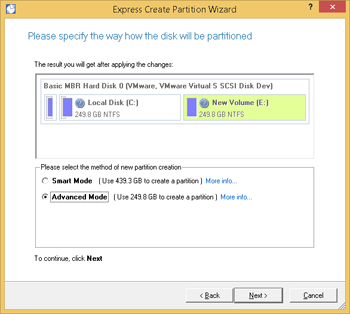 <b>Express Create Partition Wizard</b><br />Select the Express Create Partition Wizard to quickly create a new partition in the most appropriate place of a hard disk, format it to NTFS and then make it available in the system by assigning a drive letter. For easy perception, you can see the resulted disk layout on the disk map by selecting this or that mode.