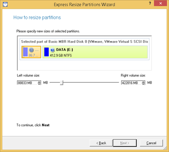 <b>Resize Partitions Wizard</b><br />Easily increase free space on one partition by up-taking the unused space of an adjacent partition of your hard disk. Just click on the left partition of the pair of partitions you need to redistribute the unused space between, as the right one will be selected automatically. Redistribute the unused space between the partitions with the slider or manually by entering the required value